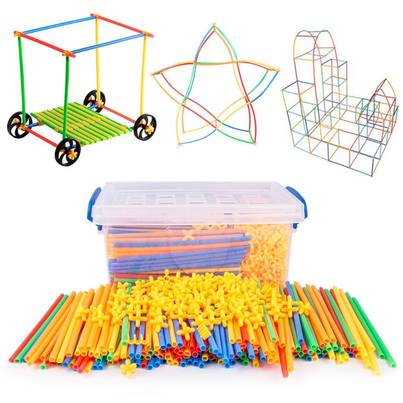 Colorful Plastic Straw Assembled Children Building Blocks Educational Puzzle Toy