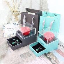 Роза ювелирные изделия космической тематики коробки искусственный цветок, прекрасный подарок на день матери мама для женщин ожерелье деву...