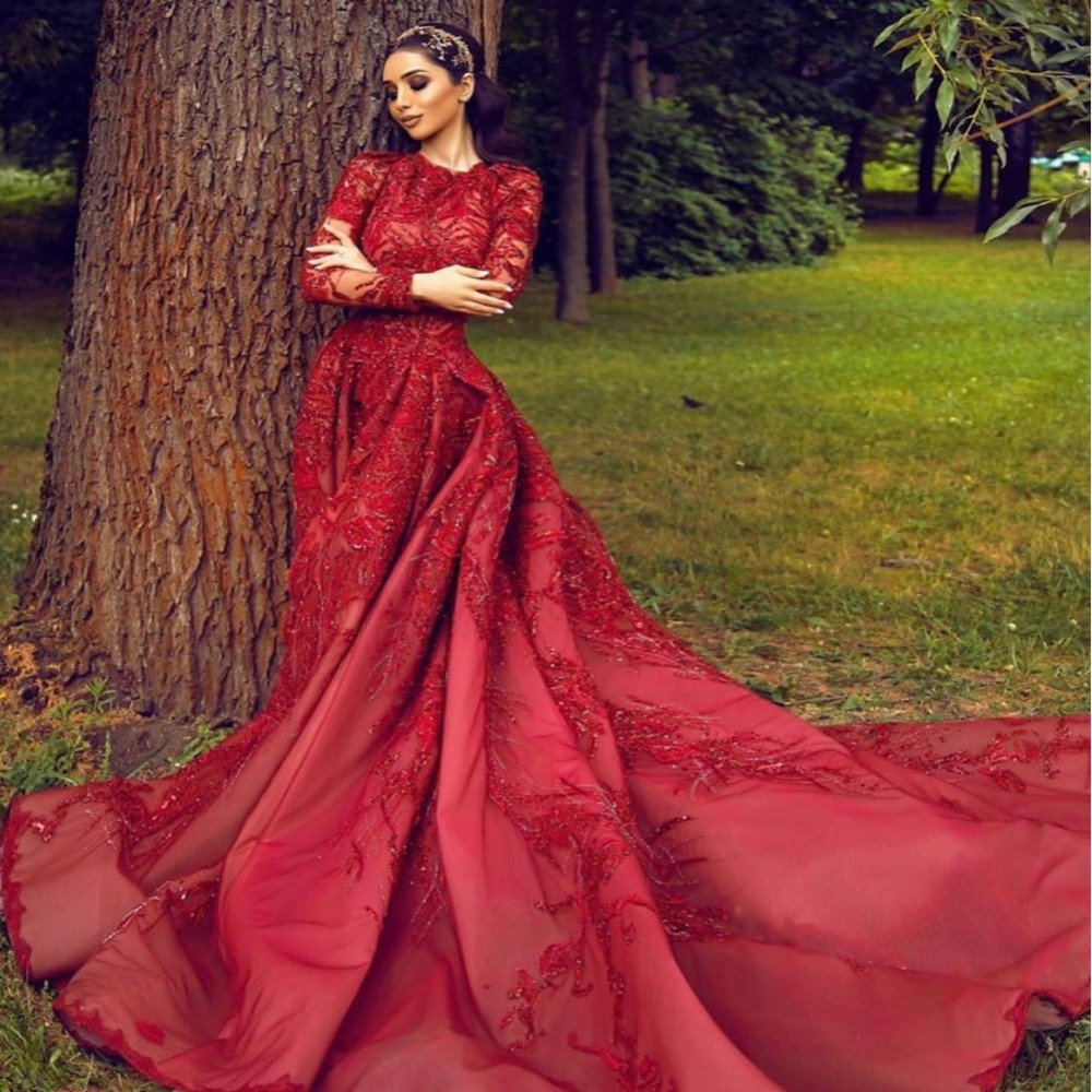 Gorgeous Prom Dresses Full Sleeves Floor Length Long Evening Dress Burgundy Beaded Appliques Evening Gowns abiye Party Gown
