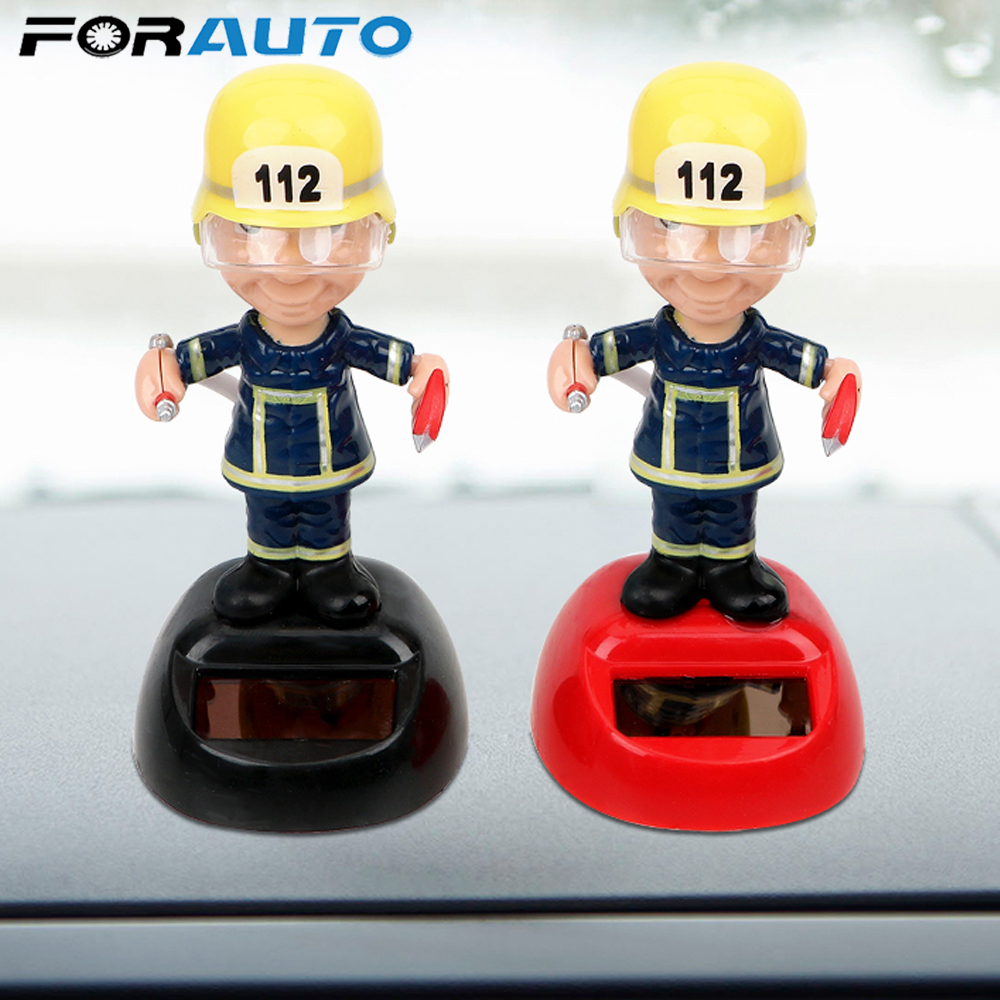 FORAUTO Firemen Shape Car Ornament Swinging Auto Accessories Dashboard Decoration Solar Powered Dancing Toy Car Styling