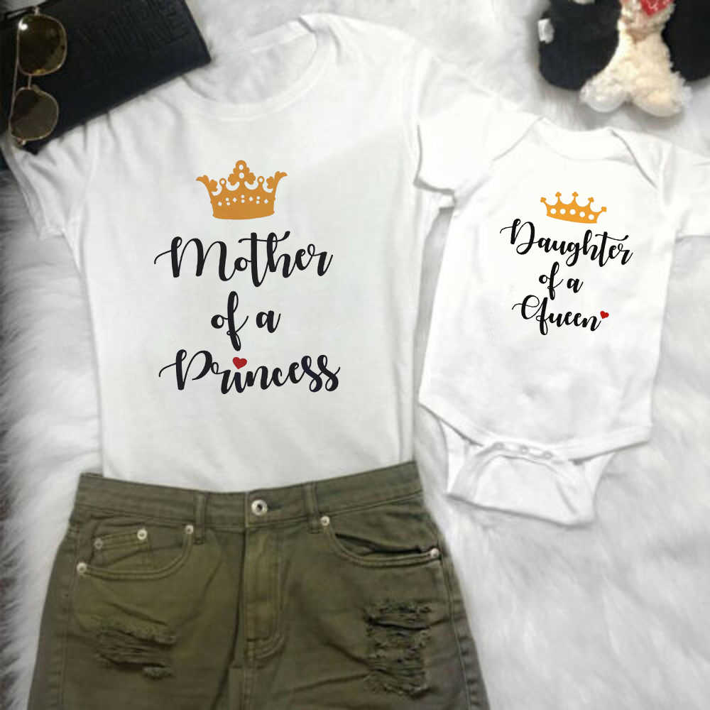 1pc Mutter Tochter Frauen Mom Top Kinder Mädchen T T Hemd Strampler Kleidung Outfits Familie Passenden Outfits Brief Muster typ