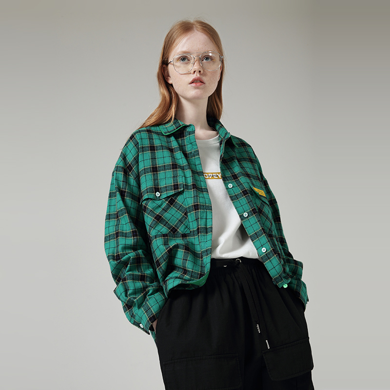 Toyouth BF Wind Plaid Pockets Long Sleeve Green Shirts Turn-Down Collar Women Autumn Blouses And Tops