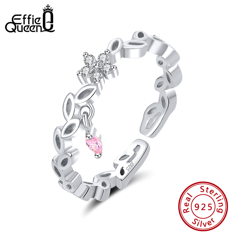 Effie Queen Genuine 925 Sterling Silver Irregular Ring Vine Leaf Flower Shape With AAAA Zircon For Women Jewelry Gift BR139