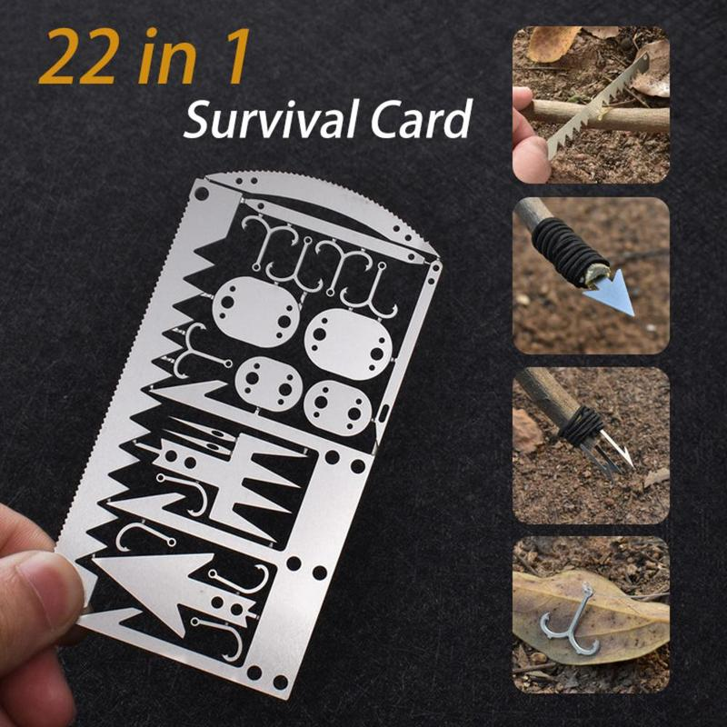 22 In 1 Fishing Gear Hook Card Outdoor EDC Tools Outdoor Camping Supplies Multifunctional Survival Tools