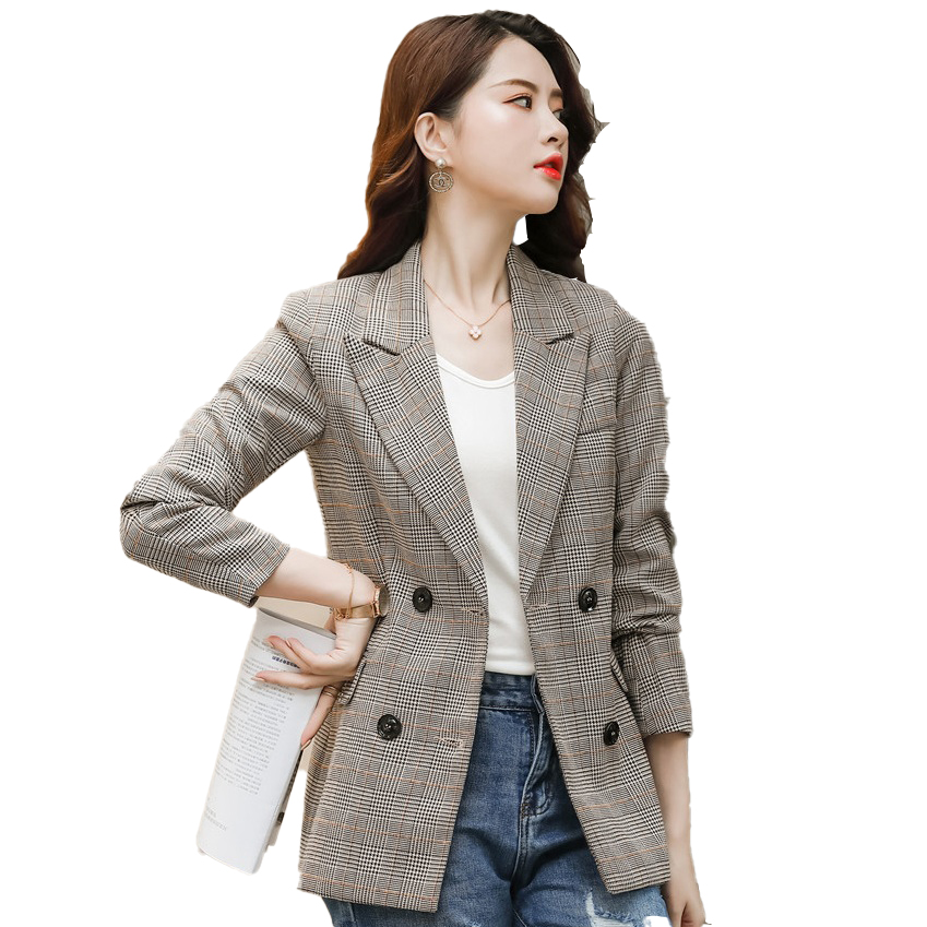 Female Elegant Formal OL Spring Autumn Khaki Plaid Blazer Women Outerwear Coat & Jackets Office Ladies Clothes Double Breasted