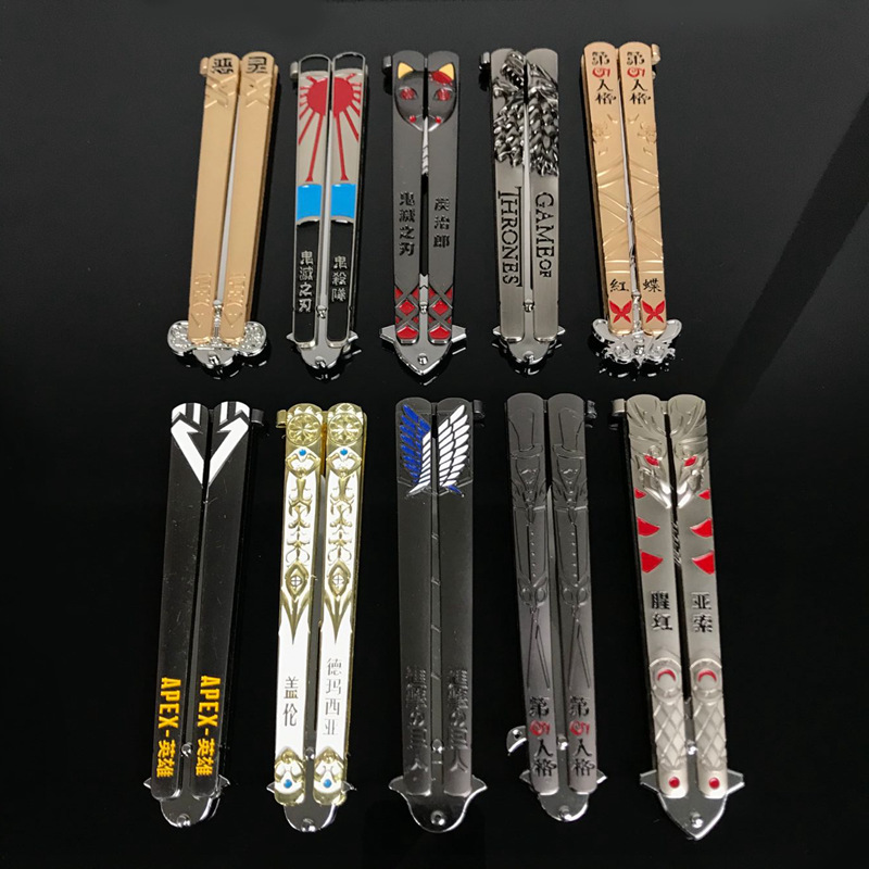 Attack On Titan Attack Giant Keychain Logo Butterfly Swing Knife Pendant Alloy Toy Key Chain Hot Wholesale Keyring