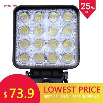 10 قطعة GERUITE LED الضوء 48W مربع أضواء السيارات ل شاحنة SUV القوارب الصيد الصيد IP67 إضاءة مقاومة للماء العمل ضوء