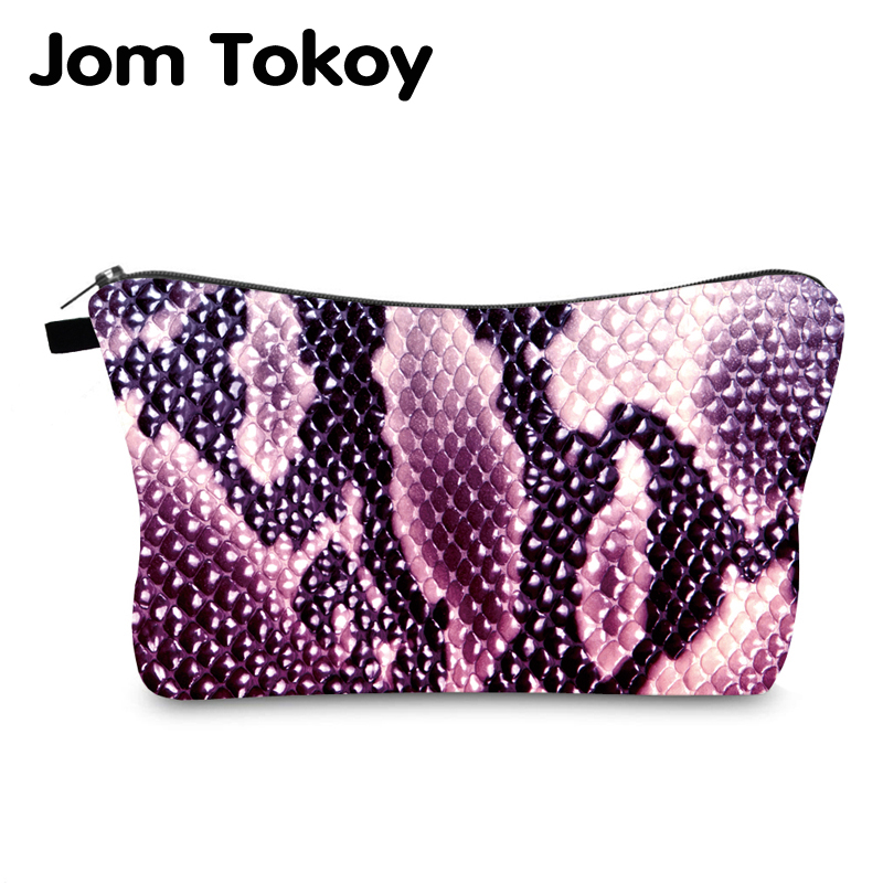 Jom Tokoy Cosmetic Bag Printing Serpentine Personalised Makeup Bags Organizer Bag Women Beauty Bag HZB998