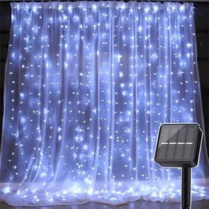 Image 3 - Thrisdar 3x3M 300 LED zasilana energią słoneczną zasłona girlanda żarówkowa ogrodowa Xmas słoneczna gwiaździsta gwiazda wróżka girlanda światło