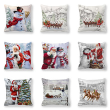 Christmas Holiday Cushion Print Santa Claus, Snowman, Elk Sofa Bed Home Decor Pillowcase Bedroom Christmas Cushion Set snowman print cushion cover pillowcase