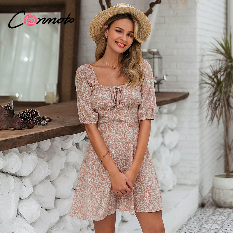 Conmoto Summer Beach Chiffon Dresses Women Casual Vintage Square Collar Dress Ruffles Boho Ruched Robe Femme Dresses Vestidos