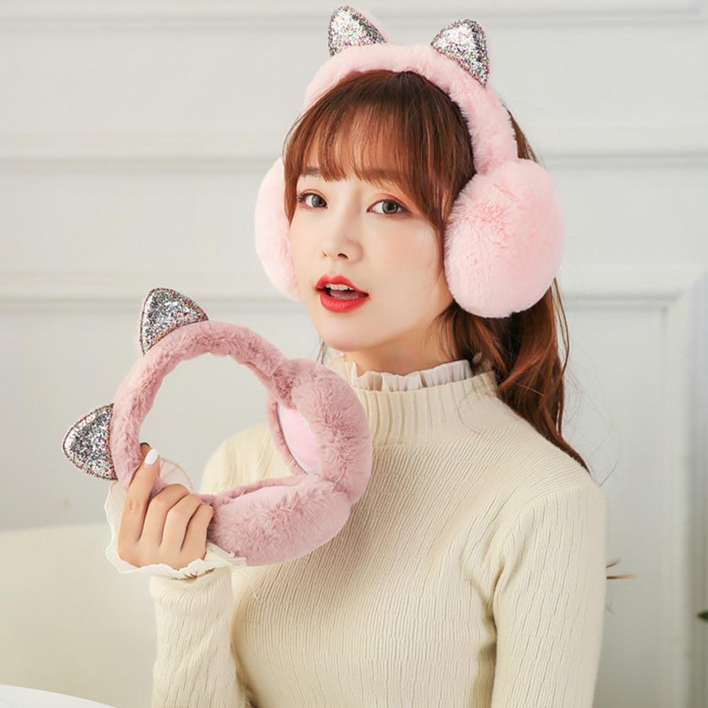 Fashion Women Girl Fur Winter Ear Warmer Earmuffs Cat Ear Muffs Earlap Glitter Sequin Earmuffs Newest Headband