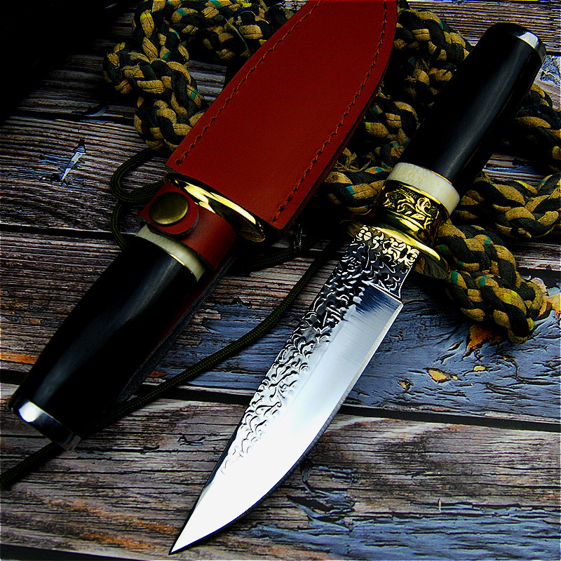Image 4 - Germany DC53 steel hunting knife forging mirror light sharp tactical straight knife collection ritual knife +leather cases-in Knives from Tools