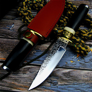 Image 4 - Germany DC53 steel hunting knife forging mirror light sharp tactical straight knife collection ritual knife +leather cases