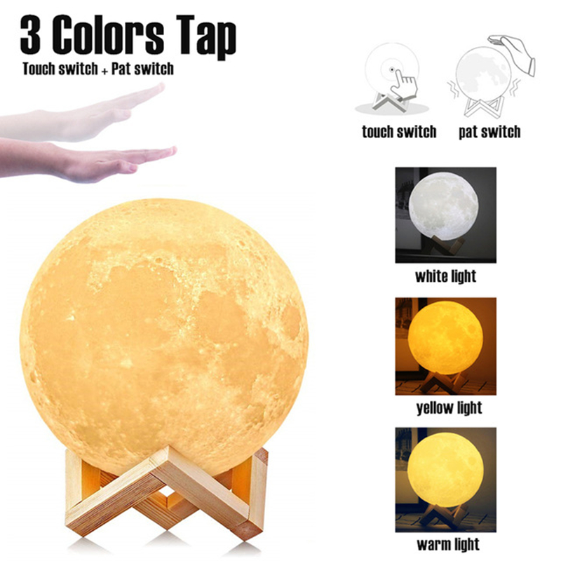 <font><b>Luna</b></font> Moon Lamp 3 colors Night Light 3D Print Moonlight LED Dimmable Touch/Pat/Remote Switch Rechargeable Bedside Table Desk Lamp image