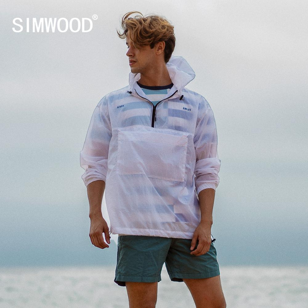 SIMWOOD 2020 Spring Summer New Thin Sun Protection Clothing White Jackets Men Plus Size Back Print Half Zip Outerwear