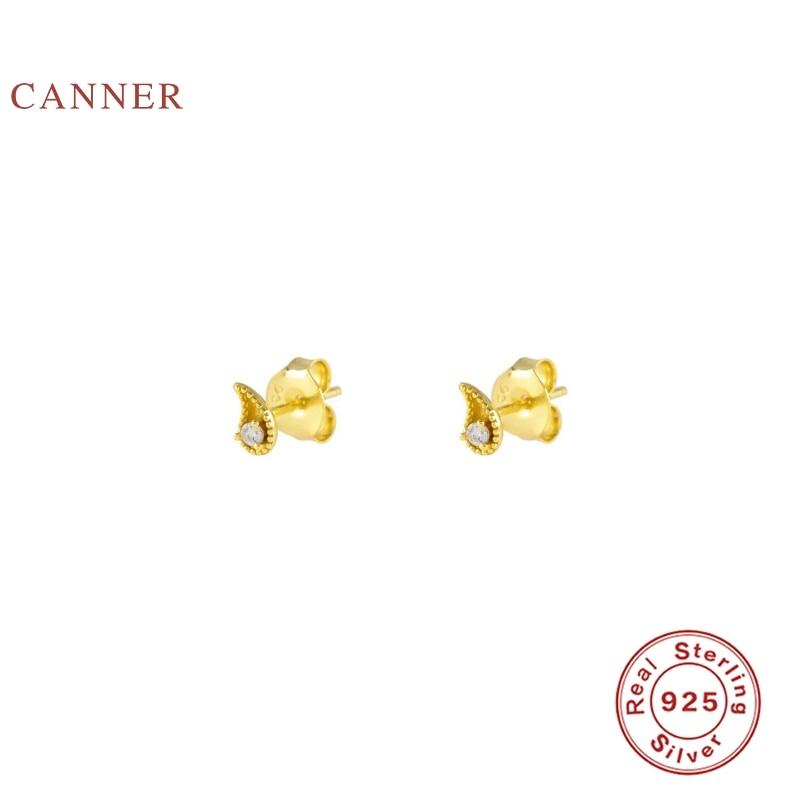 CANNER 925 Sterling Silver Earrings For Women Small Comma Diamond Stud Earrings Zircon Korean Pendientes Silver Gold Jewelry
