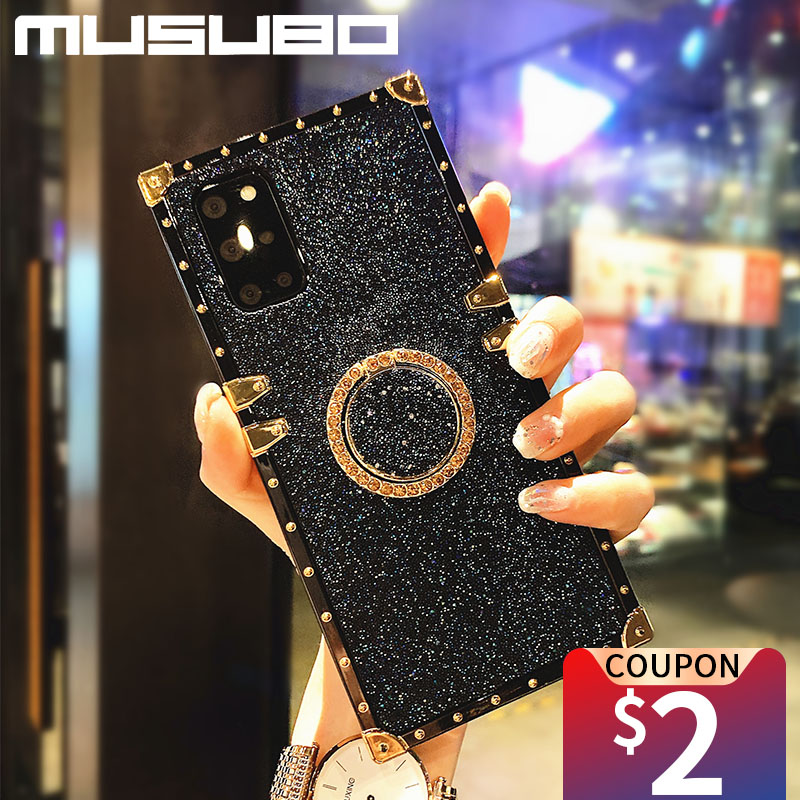MUSUBO Luxury Square Glitter Phone Case For Samsung Galaxy S20 Fe S21 S9 A22 A70 A71 A51 Note 20 Ultra 10 Plus Girls Soft Cover