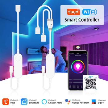 Tuya Smart sterownik WIFI do LED praca z Alexa asystent Google sterowanie głosem RGB LED pasek światła 4pin RGB pojedyncze podwójne wyjście tanie i dobre opinie Excellux CN (pochodzenie) For Tuya RGB rgb led conntroller Kontroler RGB RGB LED Strip ROHS 12-24 v