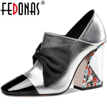 FEDONAS Sweet Butterfly Knot Women Shoes Poined Toe High Heels Pumps 2020 Spring Summer Shallow Wedding Night Club Shoes Woman