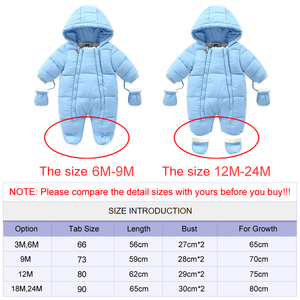 Image 5 - Ircomll Warm Infant Baby Jumpsuit Cotton Down Rompers Hooded Inside Fleece Boy Girl Winter Autumn Overalls Children Outerwear
