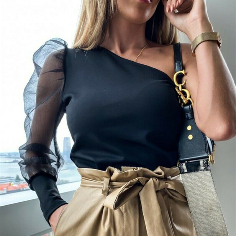 Women Puff Sleeve Blouse Ruffle Long Sleeve Shirt Solid Ladies Loose Tee Casual Blouse Top Women Top Femme Blusas Femininas