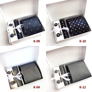 Solid Silk Ties for Men Groom Wedding Necktie Red Blue Black Color Pocket Square Tie-Clips Cufflinks 4pcs Sets Without Box A020