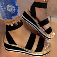 Summer Sandals Women Wedges Platform Ladies Hemp Shoes Ladies Candy Color Casual Girls Slip On Strap Cross Girls Plus Size 2020