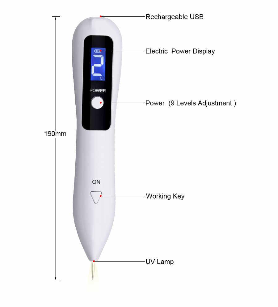 Máquina de eliminación de topos y tatuaje de 9 niveles, eliminador de bolígrafo de Plasma láser mancha, LCD, cuidado de la piel, lápiz de punta, etiqueta de verruga para el cuidado de la belleza
