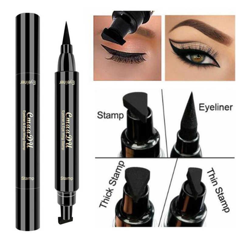 1 PC ใหม่ Double HEAD Liquid Eye Liner สีดำซีลปากกาแสตมป์ดินสอยาวนาน Cat Eyes แต่งหน้าเครื่องมือ TSLM2