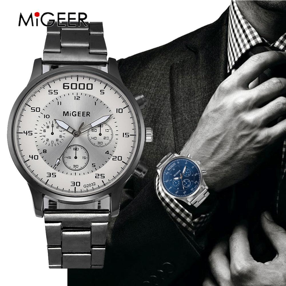 MIGEER Luxury Brand Fashion Watch Men Hot Sale Dress Men Watches Full Stainless Steel  Clock Quartz Wristwatches Reloj Hombre