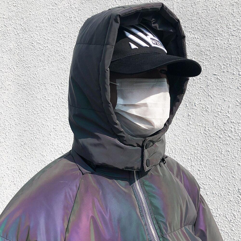 Jaqueta de inverno masculino grosso arco íris reflexivo casacos parka casaco moda jovem hip hop solto jaqueta streetwear outwear roupas masculinas - 5