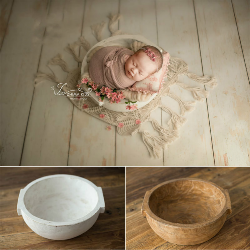 Baby Photography Props Retro Wooden Basin Baby Posing Props Infant Photo Shoot Container Newborn Photo Accessories New Type