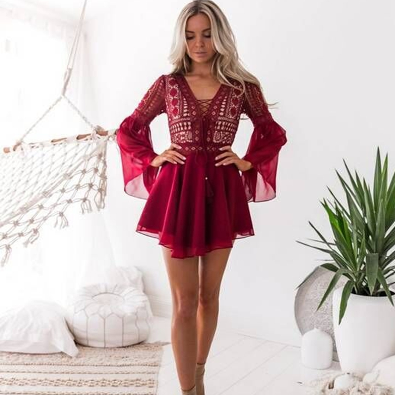 Women Flare Sleeve Chiffon Dresses 2019 Summer Sexy V-Neck Lace UP Dress Casual Solid Bohemian Mini Party Dress Plus Size