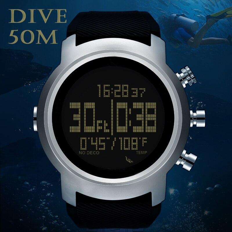 Homem mergulhador relógio à prova dwaterproof água 100m relógio digital inteligente esporte militar do exército relógio de mergulho altímetro barômetro bússola northedge