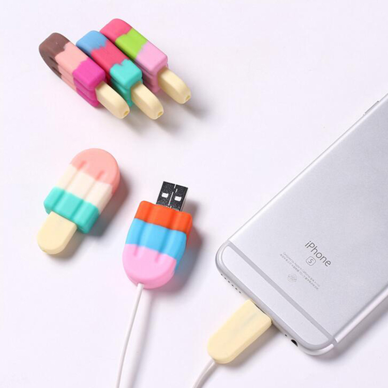 For Iphone Ice Style Cable Protector Saver Cover USB Charger Cable Cord Adorable Protective Sleeve For Phones Cable TSLM1