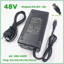 48V 54.6V 2A 48V Xe Đạp Điện Cho Pin Lithium Pin Li ion RCA Đầu Cắm 54.6V2A sạc