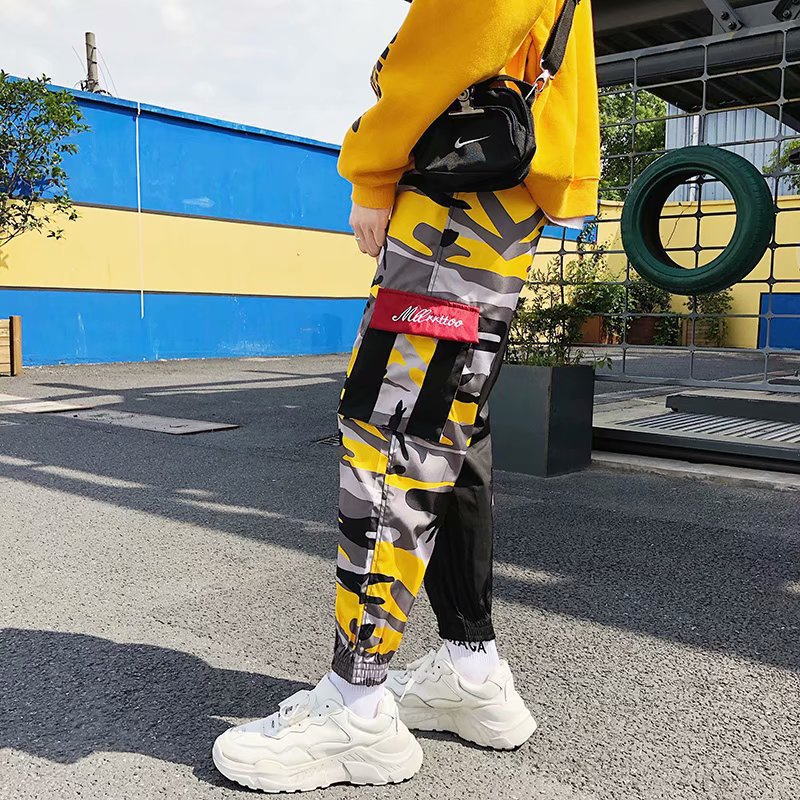 MEN'S Trousers Autumn Joint Camouflage Bib Overall Hip Hop Popular Brand Ankle Banded Pants Mixed Colors Casual Trousers Loose H