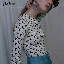 Jielur Moon Printed Long Sleeve Women T-shirts Slim Plus Size Basic Fashion 5 Colors Tshirt Female S-4XL Casual Tee Shirt Femme