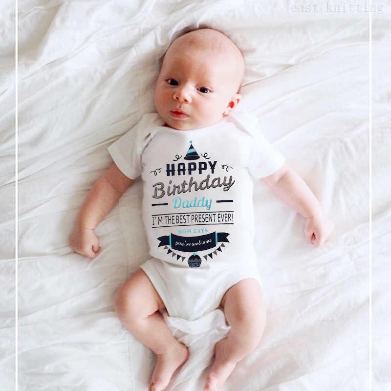 0-24 bodysuit Infantil Do Bebê Recém-nascido Da Menina do Menino de Manga Curta Carta de Impressão Feliz Aniversário Papai Romper Roupas de Bebê Verão hot
