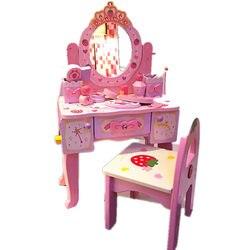 소녀 여섯 하나의 선물 작은 공주 시뮬레이션 드레서 메이크업 테이블 어린이 집 비 독성 나무 장난감