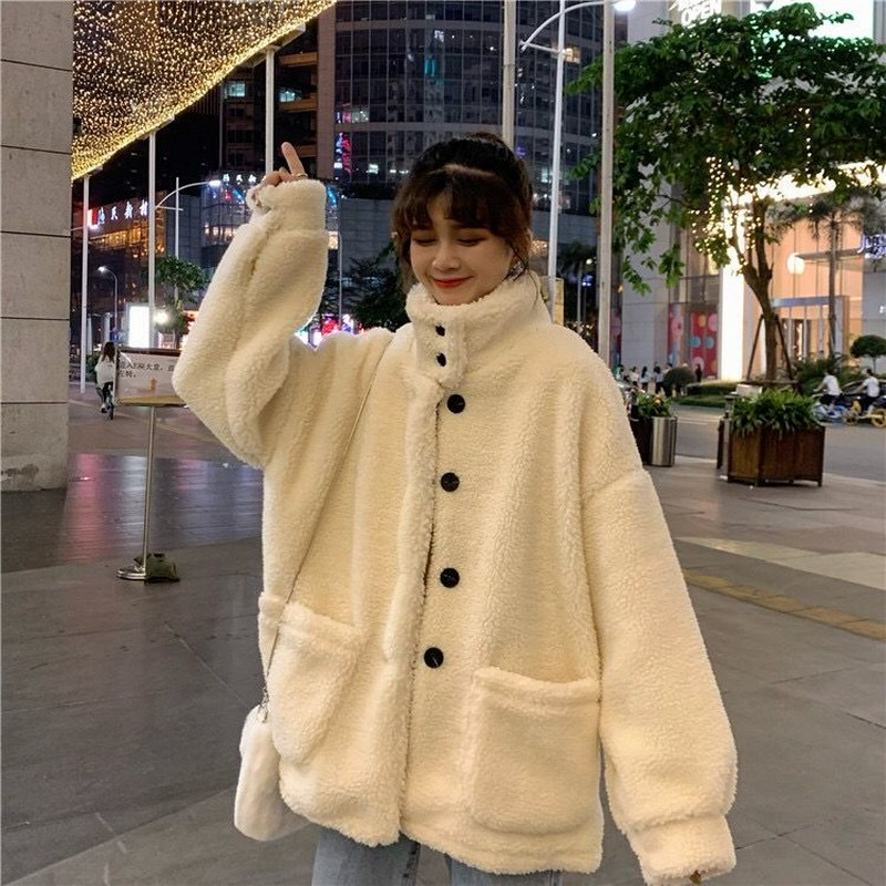 NiceMix Lambs Coat Women's New Single Row Black Button Mock Neck Granular  Warm Woolen Coat In Autumn And Winter 2020 Coat Women