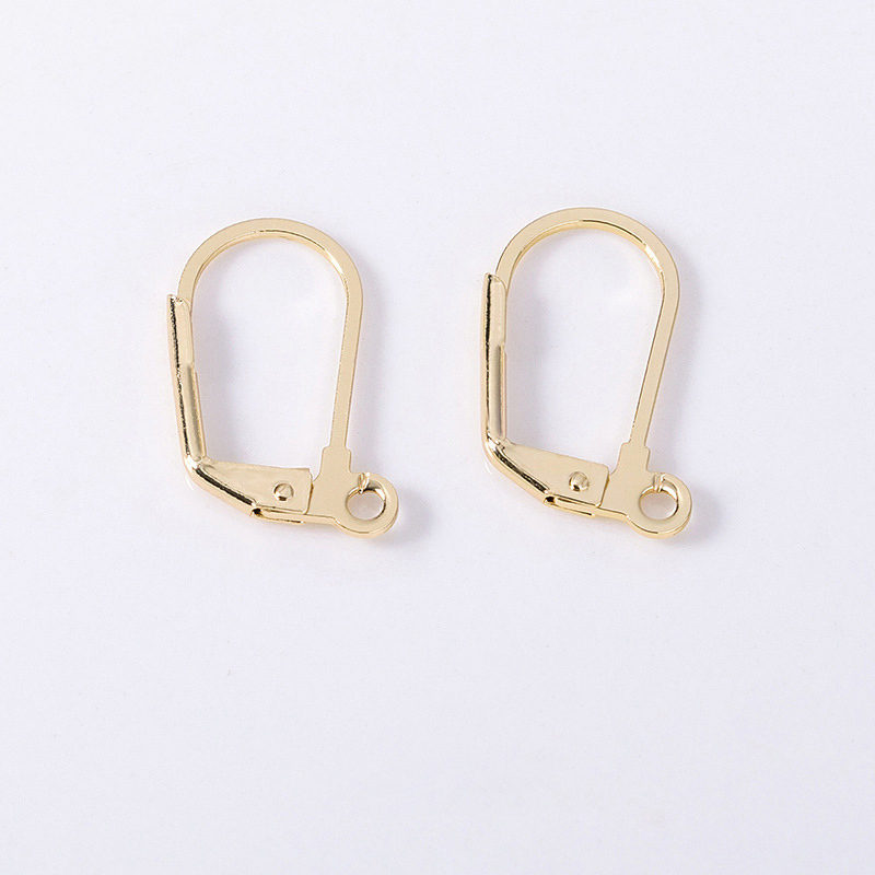 10pcs 10 *17mm 24 Karat Gold Color Coated Brass Earrings Clip Diy Jewelry Discoveries Earrings Accessories Wholesale