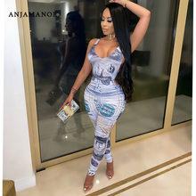 Anjam12v senhoras macacões dinheiro impresso profundo v ruched bodycon macacão queda 2020 feminino sexy clube outfits dropshipping D6-DA32