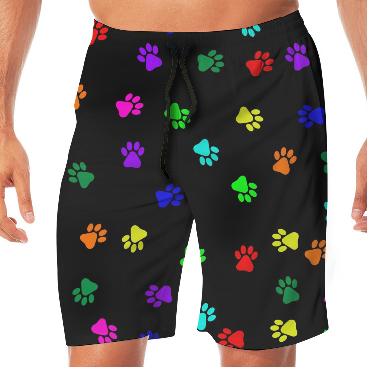 Men Casual Summer Hawaiian Beach Pants Half Trousers Colorful Footprints On Black