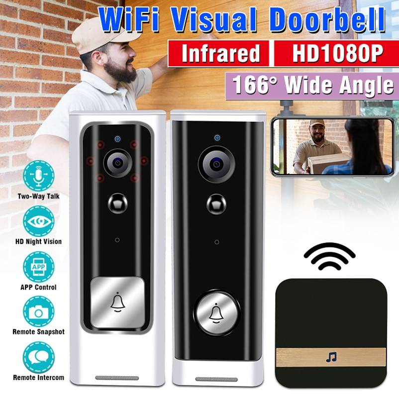 HD 1080P WiFi Door Bell Smart Infrared Monitoring Wireless Video Doorbell Home Security System Two-Way Talk Night Vision Camera