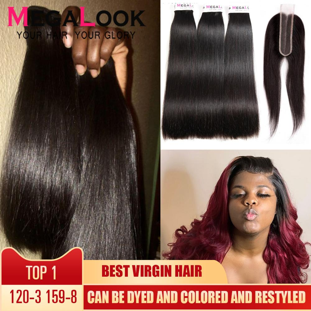 Straight Hair Bundles With Closure Human Peruvian Hair Bundles With Closure 3 4 Bundles 2x6 Virgin Hair Double Drawn