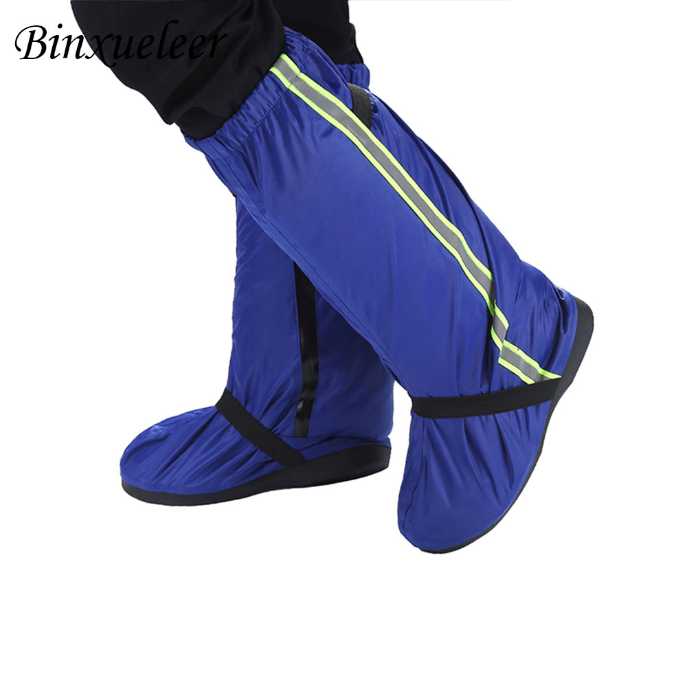 Image 2 - Unisex Fluorescent Rain Shoes Cover Boots Reusable Rain Cover For Shoes Waterproof Motorcycle Rain Shoes Cover Non Slip Boots-in Shoes Covers from Shoes