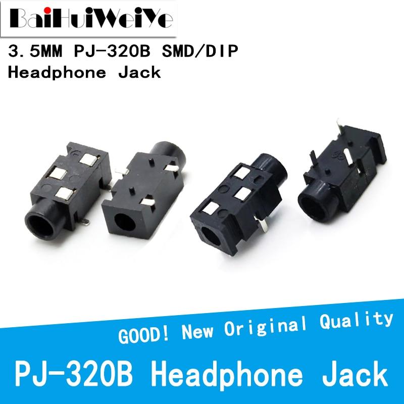 20PCS/LOT 3.5 MM Headphone Jack Audio Jack PJ-320B 3-Line Pin Female Connector DIP SMD stereo headphones PJ-320 PJ320B PJ320
