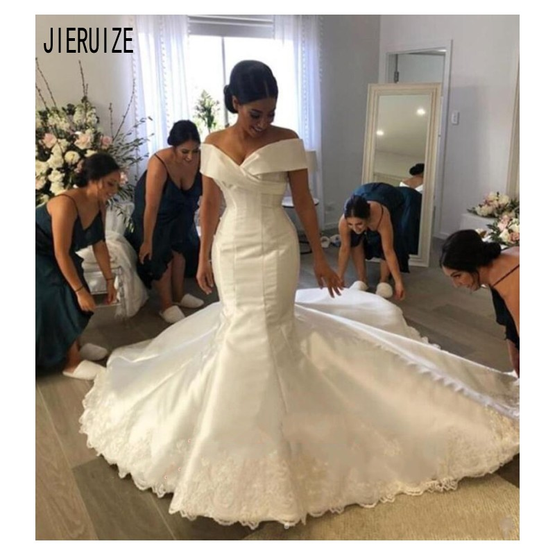 JIERUIZE Glamorous Satin Mermaid Wedding Dresses Off The Shoulder Appliques Bridal Gowns Lace Up Back Custom Made Bride Dresses